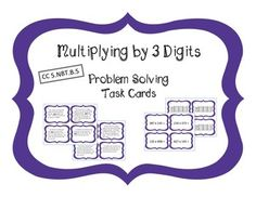 These word problem task cards are great for applying the skill of multiplying 3 by 3 digits.  This set of cards makes differentiation easy and discreet in your classroom.  Each set looks similar and is working with the same multiplication problems, just presented in a different format.Included in this set are 4 types of related task cards:- 20 single step word problems- a modified version using the same word problems with key words bolded and highlighted - a computation only set with just…