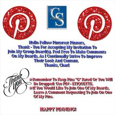 Thank - You Fellow Pinterest Pinners For Accepting My Invitation To Pin To My Group Boards. YOU ALL ROCK!  Happy Pinning!  ♡Charl