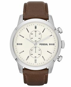 Fossil Watch, Men's Chronograph Townsman Brown Leather Strap 48mm FS4865 - Men's Watches - Jewelry & Watches - Macy's