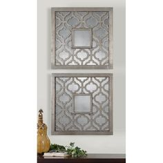 Antique silver leaf with black undertones and antique mirrors wall ...