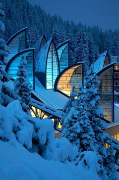 Tschuggen Bergoase Spa, Arosa, Switzerland, Mario Botta, The four-floor complex is built directly into the mountain adjacent to the Tschuggen Grand Hotel. Places Around The World, Oh The Places You'll Go, Places To Travel, Around The Worlds, Beautiful Buildings, Beautiful Places, Modern Buildings, Unusual Buildings, Famous Buildings