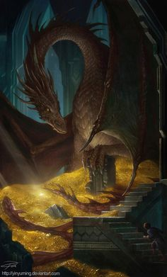(via THE HOBBIT Smaug and Bilbo by *yinyuming on deviantART)