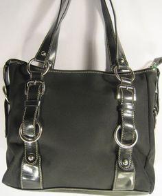 Franco Sarto Women Handbag Nylon Faux Leather Trim Black Stainless Steel Buckles #FrancoSarto #ShoulderBag