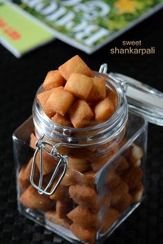 Shankarpalli aka shakarpare, are sweet maida biscuits also called as sweet diamond biscuits are a popular Indian snack item prepared during Diwali & Holi.Well, not just during festivals but also as a . Easy Indian Recipes, Indian Dessert Recipes, Sweets Recipes, Snack Recipes, Cooking Recipes, Indian Sweets, Cooking Videos, Cooking Games, Cheese Recipes