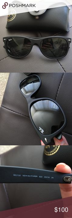 Ray ban Mens 'RB2132' wayfarer sunglasses Black men's ray-ban wayfarer sunglasses. Had for about 1 year but hardly worn. Comes with case and cleaning cloth. Ray-Ban Accessories Sunglasses