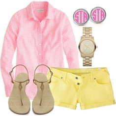 Preppy summer outfit. Cute but I'd probably get heat exhaustion if I tried wearing this during the summer in OK