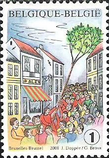 belgian stamps Folkore and Traditions.700 Anniversary planting of 'Meiboom' at Brussel