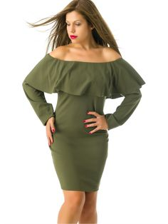 Vestido Verde Militar Manga Larga MS1744