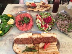 One of the most famous Turkish Kebab called Adana Kebab. In Adana the city, all starters and salads are free of charge.