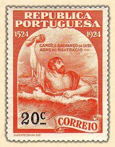 1924 - República Portuguesa  Camões salvando os Lusíadas do naufrágio