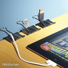 Keep your cords sorted while in use with large stationary clamps. This blog had the clever idea.