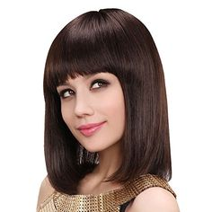 PrettyGal Real Human Hair Wig-Natural Fullness Medium Straight Wigs for Women (36cm, style 17