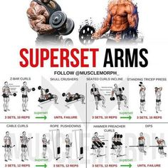 Want BIGGER Arms? Try this workout LIKE/SAVE IT if you found this useful. FOLLOW @musclemorph_ for more exercise & nutrition tips . *A Superset is when you do two exercises back to back with no rest between them. The goal here is not to move heavy weights; you'll use lighter weights than normal to hit target rep ranges . TAG A GYM BUDDY . ✳Enhance your progress with @musclemorph_ Supplements ➡MuscleMorphSupps.com #MuscleMorph
