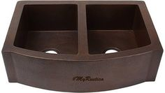 """Custom hammered contemporary style copper apron sink with two bowls for a modern and traditional kitchen. It was custom produced with two patina color options. If you live in the continental USA delivery is free and it takes about four weeks. Copper Apron Kitchen Sink """"Milwaukee"""" by Custom Made. #myCustomMade"""