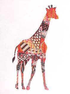 Interesting the way the animals shape is made from pattern which doesn't relate directly to the animal itself ( especially since the giraffe already has a well recognised pattern)