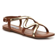 Steve Madden Bazz Gladiator Sandal ($45) ❤ liked on Polyvore featuring shoes, sandals, flat shoes, flat gladiator shoes, gladiator shoes, greek sandals and gladiator sandals shoes