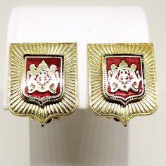 Red Enamel Earrings - Vintage, Gold Tone, Red Enamel Heraldic Shield, Clip-On Earrings by MyDellaWear on Etsy