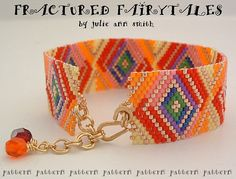 Julie Ann Smith Designs FRACTURED FAIRYTALES Bracelet Odd Count Peyote Beadweaving Pattern