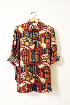 Vintage 90s Book Lover's Silk Button Up // by 10leaguebootsvintage