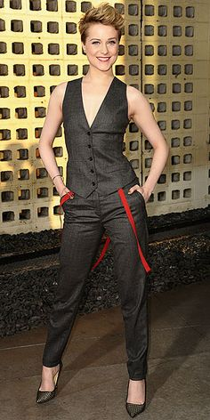 Evan Rachel Wood debuts a new cut and menswear inspired Dolce and Gabbana vest and pants