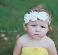 Headband Shabby Chic Frayed Triple Rosette Baby Headband    Price: $7.99