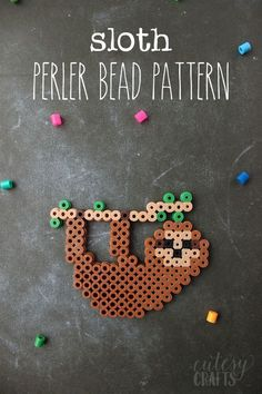 Sloth Perler Bead Design is part of Perler beads designs - Let the kids make an adorable sloth perler bead design Keep them entertained with this easy pattern for a square perler bead tray Perler Bead Designs, Easy Perler Bead Patterns, Melty Bead Patterns, Perler Bead Templates, Hama Beads Design, Diy Perler Beads, Perler Bead Art, Beading Patterns, Mosaic Patterns