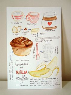 "Más Recetas en https://lomejordelaweb.es/ | Watercolor illustrated recipe ""Banana and Nutella Muffin"" by Marina Prado #Nutella #Recipe #Watercollor"