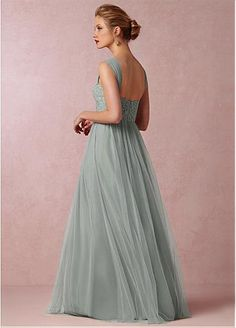 Chic Tulle Sweetheart Neckline Full-length A-line Bridesmaid Dress