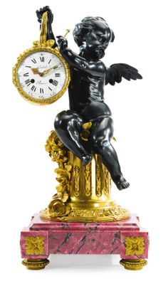 A Louis XVI style gilt and patinated bronze and rhodonite inlaid marble mantle clock<br>Paris, second half 19th century | Lot | Sotheby's