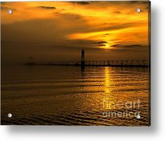 Foggy Grand Haven Sunset Acrylic Print by Nick Zelinsky