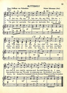"""Butterfly""  sheet music c. 1917"