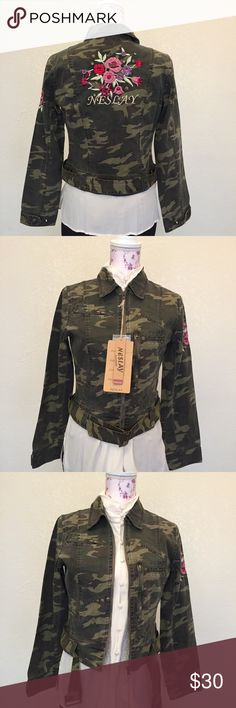 NWT NESLAY multicolor army embroidery jacket Green/multicolor brand NESLAY material 100% cotton additional info: multicolor floral embroidery sleeve/back NESLAY Jackets & Coats Utility Jackets