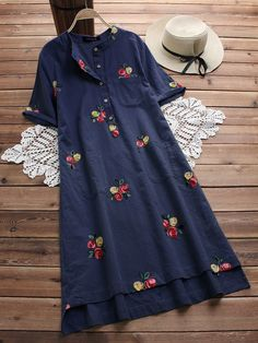 d42775ae2 Hot saleIrregular Floral Embroidered Pockets Short Sleeve Vintage Dresses  Cheap - NewChic Chic Outfits, Dress
