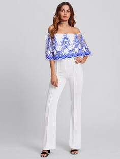 9077cefeb6a8 Shop Off Shoulder Flower Lace Panel Layered Jumpsuits online. SHEIN offers Off  Shoulder Flower Lace Panel Layered Jumpsuits   more to fit your fashionable  ...