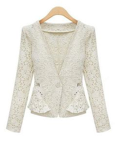 Lace One Button Long Sleeve Fitted Blazers