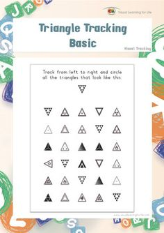 Suivi de triangle complexe by Visual Learning for Life Learning For Life, Visual Learning, Figure Ground Perception, Triangles, Visual Perceptual Activities, Middle School Activities, Sensory Rooms, Sensory Activities, Vision Therapy