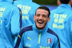 """Alessandro Florenzi of Italy reacts during the training session at """"Bernard Gasset"""" Training Center on June 18, 2016 in Montpellier, France."""
