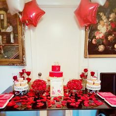My daughter's  sweet 15 cake table, Not bad For an  On a budget  small party.