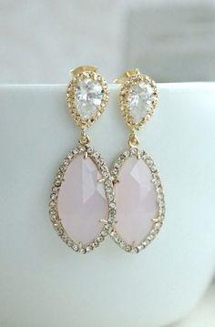 LUX Gold Plated Cubic Zirconia Pink Opal Teardrop Earrings