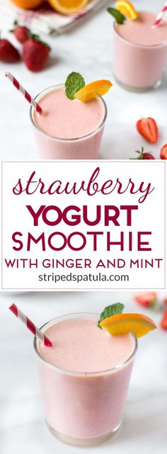Creamy, refreshing, and satisfying, these Strawberry Banana Yogurt Smoothies are a delicious breakfast treat! Add fresh mint and ginger for a fun twist!