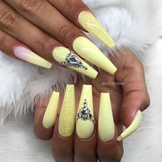 Sunny Yellow Coffin Nails With Rhinestones ❤ 40+ Magnificent Coffin Nails Designs You Must Try ❤ See more ideas on our blog!! #naildesignsjournal #nails #nailart #naildesigns #coffinnails #nailshapes #coffins #ballerinanails Fancy Nail Art, Fancy Nails, Cool Nail Art, Cute Nails, Coffin Shape Nails, Best Acrylic Nails, Ballerina Nails, Simple Nail Designs, Rhinestone Nails