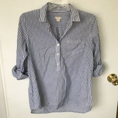 J. Crew Striped Button Up In great condition still. No flaws to note. J. Crew Tops