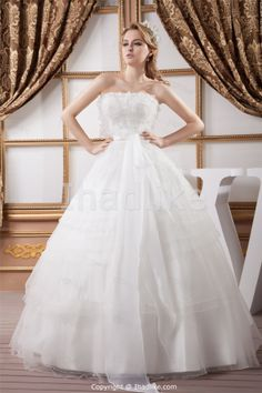 Wonderful Princess Strapless Summer Floor-length Wedding Dresses -Wedding Dresses