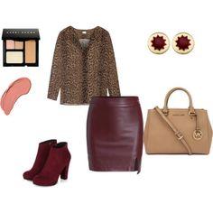 Кожаная юбка, леопардовая блузка