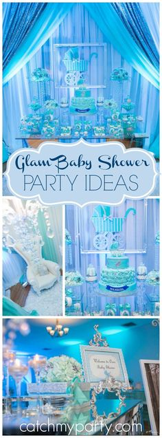 Wow! What a glam Tiffany blue and white baby shower! See more party ideas at CatchMyParty.com!