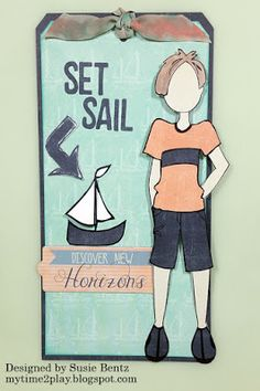 Set Sail Tag with Susie Hello and welcome! Susie here today and I am sharing another bit of inspiration for our challenge this month - Tag It!  I chose paper #106 from the Anchors Aweigh collection as the main back drop for this tag.  I love the lightly drawn ships on the light green cardstock!  I cut it slightly undersized and then backed it with a full size navy tag cut from paper #107.