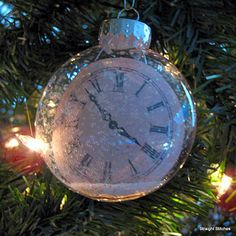 Christmas ornament DIY ~~ with my boys time of birth - how precious. Love this with various times on the clock too! BEAUTIFUL