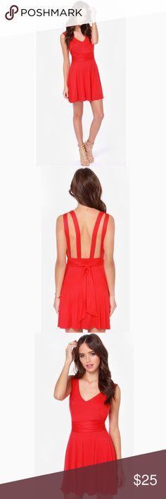 ••red low back skater dress•• Brand: Lulus  Size: small  Condition: like new  Color: red  Style: skater dress  Super cute red skater dress with low, double strap back. Ribbon tie, can be tied in front or back. Super flowy and fun! Lulu's Dresses Mini