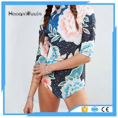 bikini swimwear sexy short sleeves floral printing surf suit women bikini swimwear