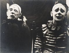 """Two early Ringling Brothers' circus clowns, whose photographs appeared in the…"
